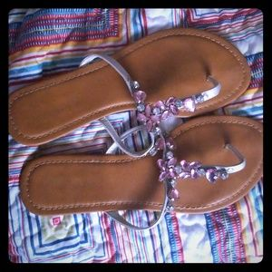 Gorgeous Sandals size 10 pink and tan